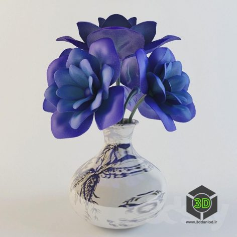 001 vase with blue flower(3ddanlod.ir)