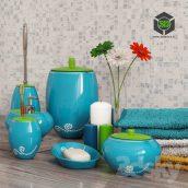 A Set of Bathroom Accessories Primanova Maison Blue(3ddanlod.ir) 023