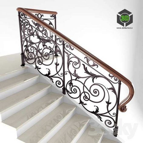 Classic Staircase fence(3ddanlod.ir) 005