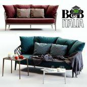 B & B Italia ERICA Blue & Red Sofa(3ddanlod.ir) 012