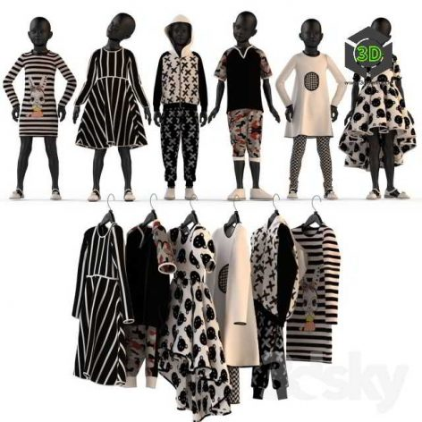 Childrens Clothing on Mannequins and Hangers(3ddanlod.ir) 041