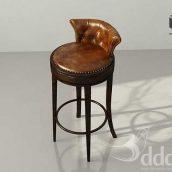Classic_Bar chair_Leather wood(3ddanlod.ir)