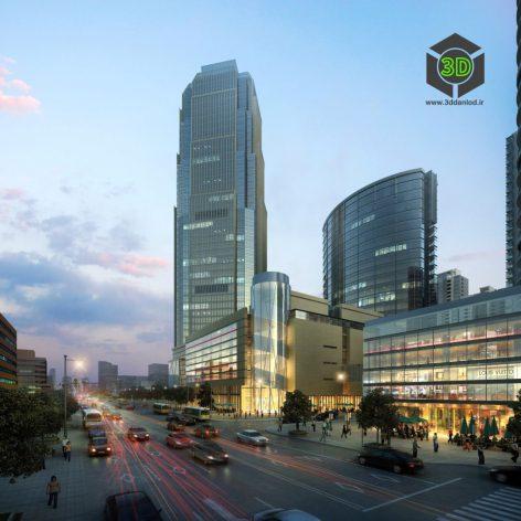 commercial building 004 night light(3ddanlod.ir) 022