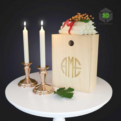 Decor Set Copper Candle Set(3ddanlod.ir) 427