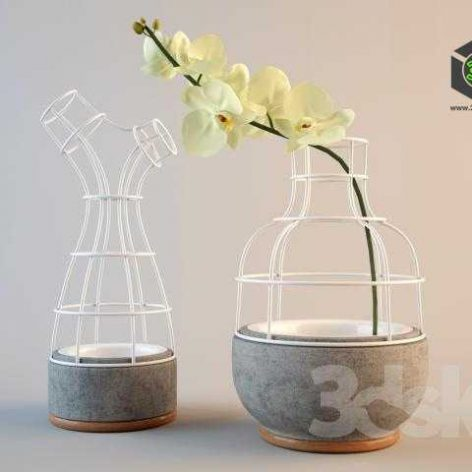 modern vase yellow flower 013 (3ddanlod.ir)