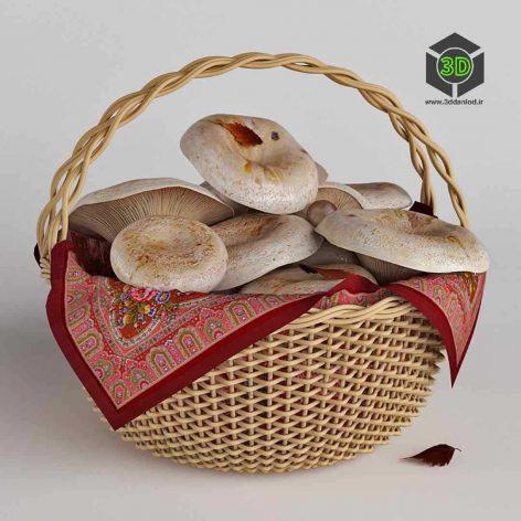 Mushrooms in a Basket White Mushrooms(3ddanlod.ir) 252