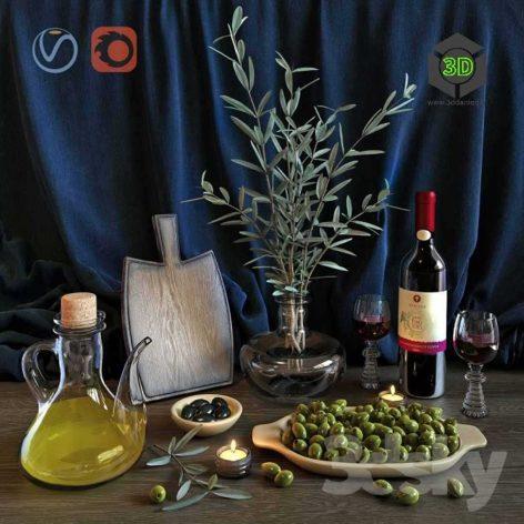 Olive Wine Set(3ddanlod.ir) 063