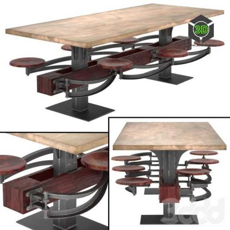 Perrin Communal Table With Attached Seating(3ddanlod.ir)