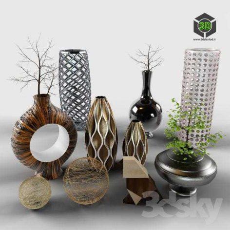 modern vase pack 012 (3ddanlod.ir)