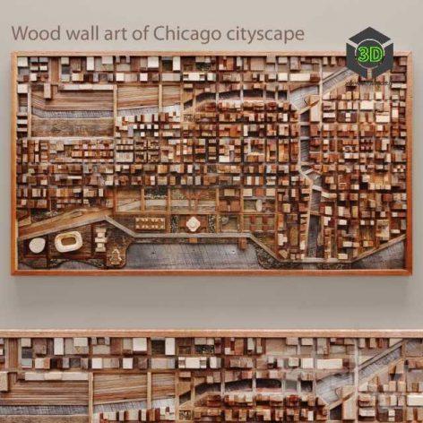 Wood Wall Art of Chicago Cityscape(3ddanlod.ir) 005
