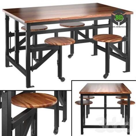 Space table with bar stools(3ddanlod.ir)