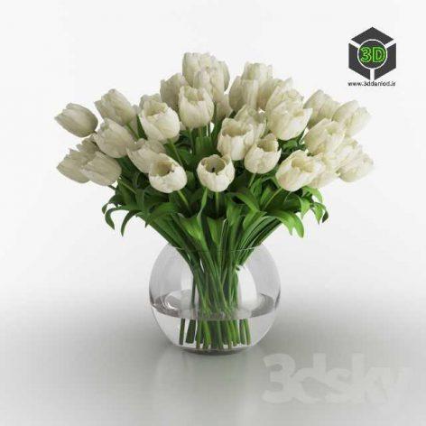 White Tulips in a Vase(3ddanlod.ir) 248