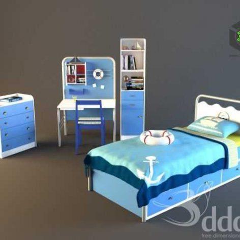 mariner childrensroom_bed_desk_chest (3ddanlod.ir)