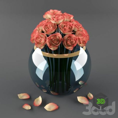 Розы в вазе(3ddanlod.ir)
