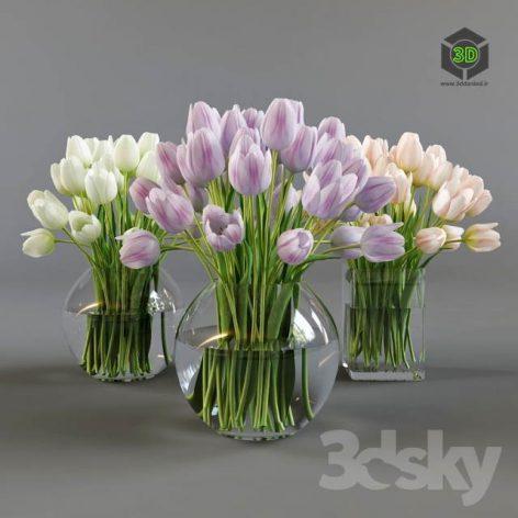 Three Vases with Tulips(3ddanlod.ir)