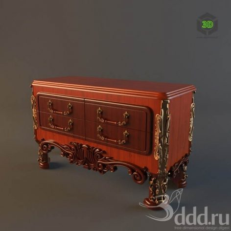 Commode_Classic_Red Wood (3ddanlod.ir)