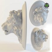 Lion sculpture_statue_decor_moulding (3ddanlod.ir)