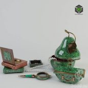 Paperweight Faberge Casket Pear, Ashtray Art. G-5566, Magnifying Glass, Mykonos, pepelnitsa-book with inlay (3ddanlod.ir)