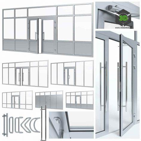 Aluminium Door with Partitions(3ddanlod.ir) 081
