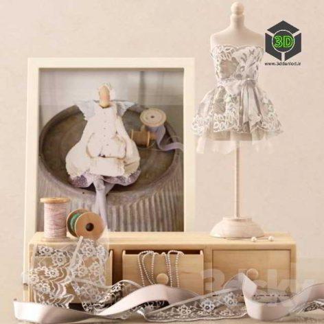 Decorative Set with a Mini Mannequin(3ddanlod.ir) 075