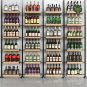 Set-370 (Wooden shelving with bottles) 001 (3ddanlod.ir)