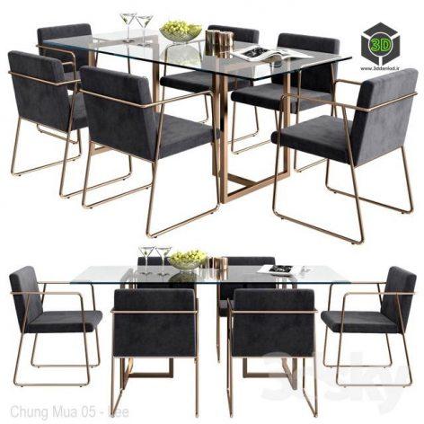 CB2 Rouka Chair & Rectangular Dining Table(3ddanlod.ir) 1424