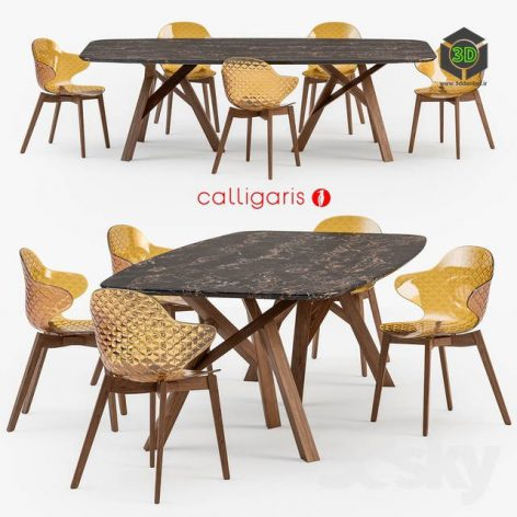 Calligaris Jungle Table Saint Tropez Wood Chair(3ddanlod.ir) 698