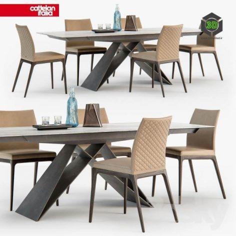 Cattelan Italia Arcadia Couture Chair Premier Table(3ddanlod.ir) 564