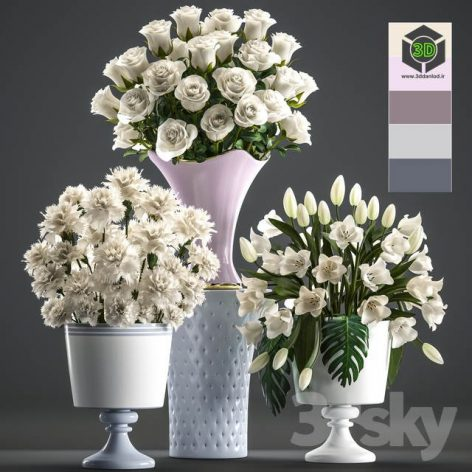 Collection of Flowers 58 White Bouquets(3ddanlod.ir) 1260