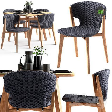 Ethimo Knit Dining Chair and Square Table(3ddanlod.ir) 1344
