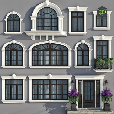 Windows and doors in the style of modern classics v2 (Vray) (3ddanlod.ir) 054