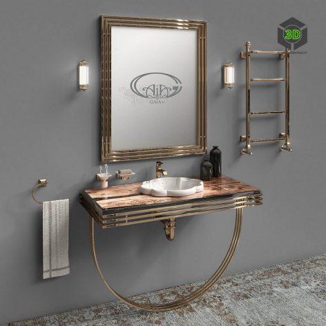 golden metal washbasin (3ddanlod.ir) 093