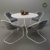 MINOTTI SPACE Table with Chairs(3ddanlod.ir) 3906