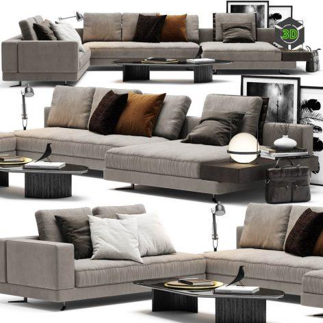 Minotti White Sofa(3ddanlod.ir) 3968