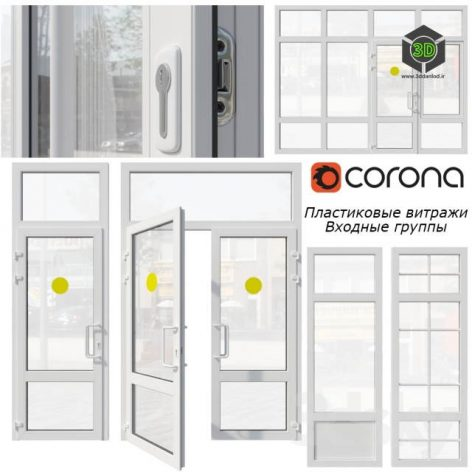 Plastic Stained Glass Window Door(3ddanlod.ir) 3246