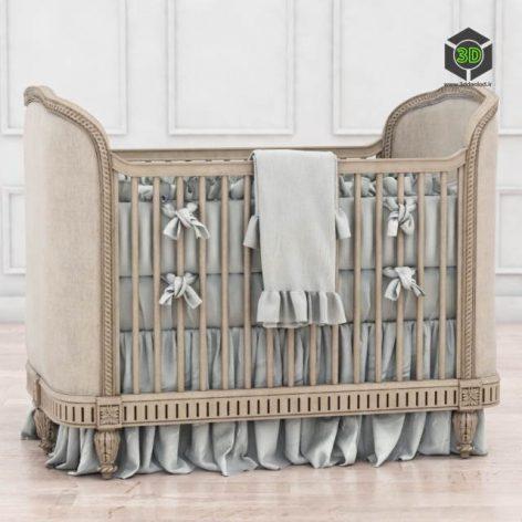 RH Belle Upholstered Crib(3ddanlod.ir) 4045