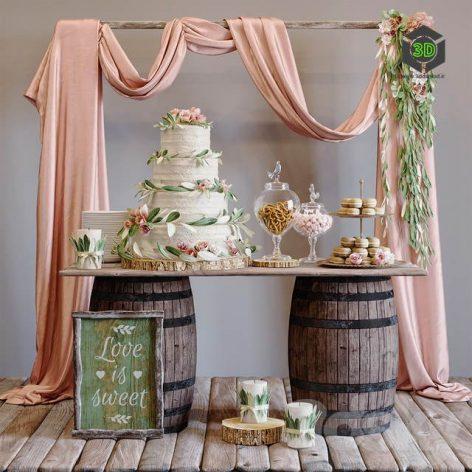 Rustic Wedding Style Sweet Table(3ddanlod.ir) 3753