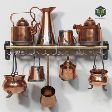 Set of Old Copper Utensils(3ddanlod.ir) 3551