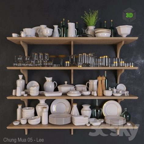 Shelves with Dishes(3ddanlod.ir) 3344