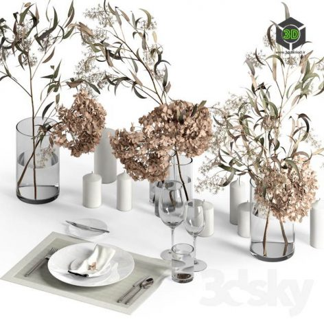 Table Setting with Dry Plants(3ddanlod.ir) 2685