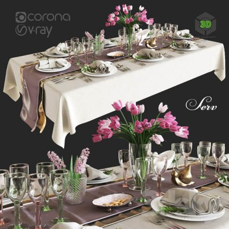 Table Setting with Flowers(3ddanlod.ir) 2773