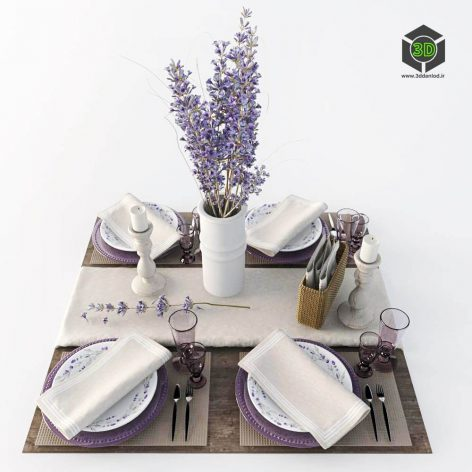 Table Setting with Lavender(3ddanlod.ir) 2850