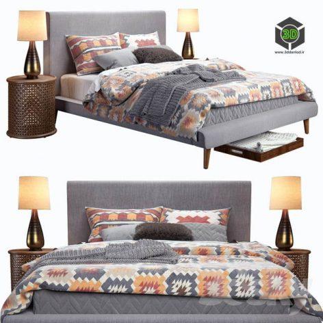 West Elm Mod Upholstered Bed(3ddanlod.ir) 2659