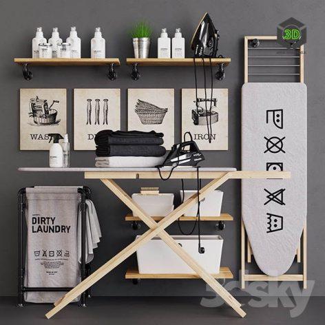Wooden Ironing Board Set(3ddanlod.ir) 2612