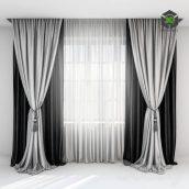 Black Satin Curtains With Pick(3ddanlod.ir) 500