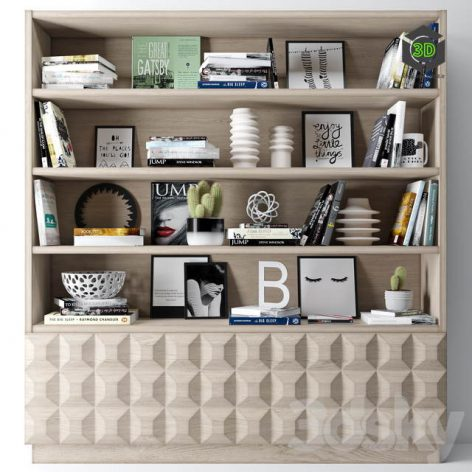 Bookshelf Decoration(3ddanlod.ir) 268