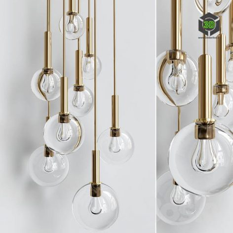 Brass and Smoked Glass Ceiling Lights(3ddanlod.ir) 473