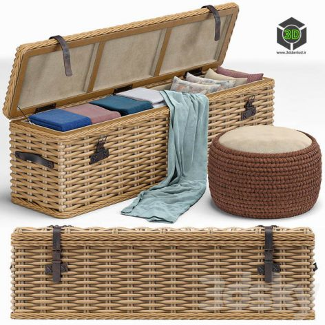Brenna Leather Accent Woven Rattan Trunk Pouf(3ddanlod.ir) 548