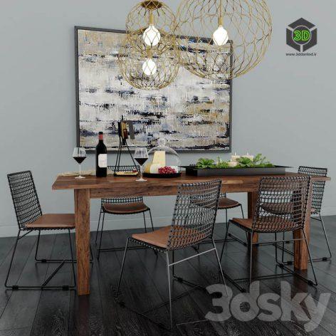 Crate & Barrel Dining Room(3ddanlod.ir) 653