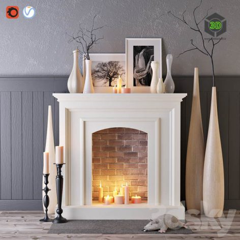 Decorative Fireplace with Candles(3ddanlod.ir) 229